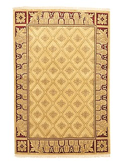 Nepali Indo-Nepal Green Rectangle 4x6 ft Wool Carpet 10511