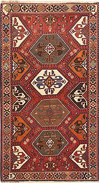 "Persian Abadeh  Wool Red Area Rug  (3'6"" x 6'6"") - 100 - 10513"