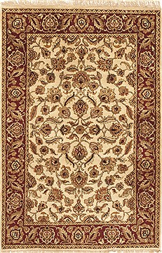 Indian Jaipur White Rectangle 4x6 ft Wool Carpet 10526