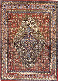 "Sanandaj Red Hand Knotted 4'0"" X 5'0""  Area Rug 100-10529"