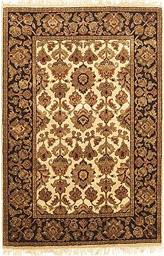 Indian Jaipur White Rectangle 4x6 ft Wool Carpet 10545