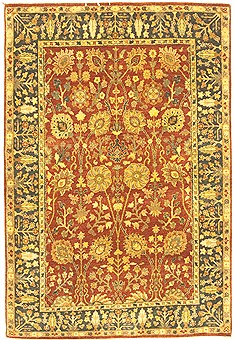 Indian Jaipur Red Rectangle 4x6 ft Wool Carpet 10546