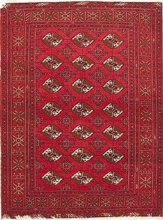 "Turkman Red Hand Knotted 3'11"" X 5'2""  Area Rug 100-10572"