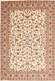 "Kashan Beige Hand Knotted 5'6"" X 8'0""  Area Rug 100-10636"