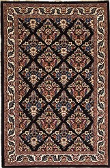 "Persian Mashad Wool Blue Rectangle Area Rug  (3'9"" x 5'11"") - 100-10667"