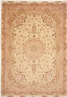 "Tabriz Beige Hand Knotted 8'2"" X 11'8""  Area Rug 100-10739"