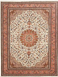 Persian Tabriz Beige Rectangle 8x11 ft Wool Carpet 10747