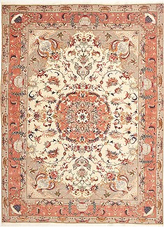 Persian Tabriz Beige Rectangle 8x11 ft Wool Carpet 10749