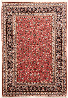 "Kashan Red Hand Knotted 7'3"" X 10'6""  Area Rug 100-10757"