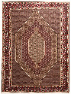 "Sanandaj Brown Hand Knotted 8'0"" X 11'0""  Area Rug 100-10759"