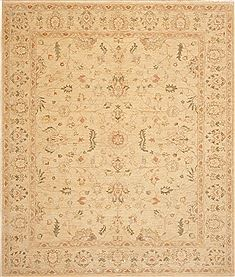 Pakistani Chobi Beige Rectangle 8x10 ft Wool Carpet 10774