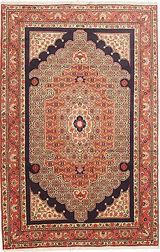 "Sanandaj Red Hand Knotted 5'6"" X 9'1""  Area Rug 100-10810"