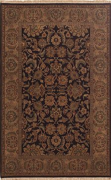 Indian Jaipur Black Rectangle 6x9 ft Wool Carpet 10815