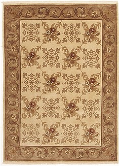Nepali Indo-Nepal Brown Rectangle 6x9 ft Wool Carpet 10825