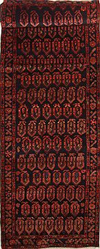 "Mussel Red Runner Hand Knotted 3'6"" X 16'6""  Area Rug 100-10869"