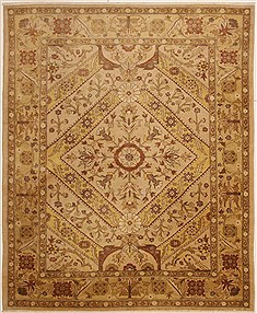 Pakistani Chobi Beige Rectangle 8x10 ft Wool Carpet 10901