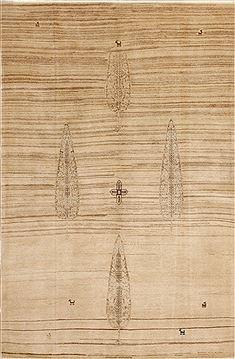 "Persian Gabbeh  Wool Beige Area Rug  (5'5"" x 8'3"") - 110 - 10932"