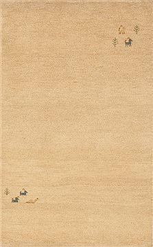 "Indian Gabbeh  Wool Beige Area Rug  (3'1"" x 4'11"") - 109 - 10951"