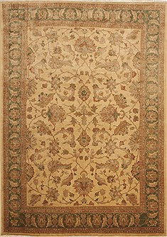 Pakistani Pak-Persian Beige Rectangle 9x12 ft Wool Carpet 10993