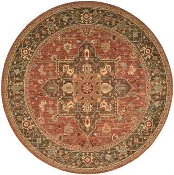 "Nourison Living Treasures Red Round 5'10"" X 5'10"" Area Rug  805-100333"