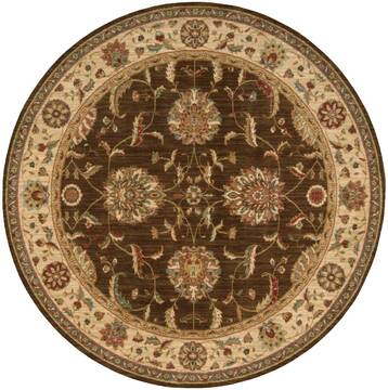 "Nourison Living Treasures Brown Round 5'10"" X 5'10"" Area Rug  805-100363"
