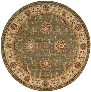 "Nourison Living Treasures Green Round 5'10"" X 5'10"" Area Rug  805-100373"