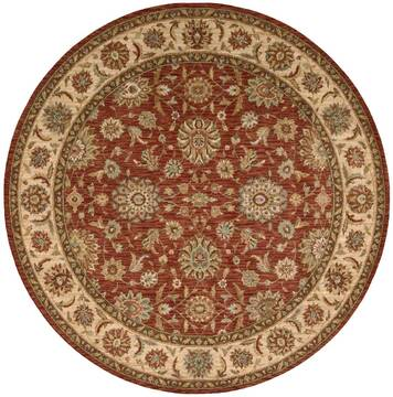 "Nourison Living Treasures Red Round 5'10"" X 5'10"" Area Rug  805-100443"