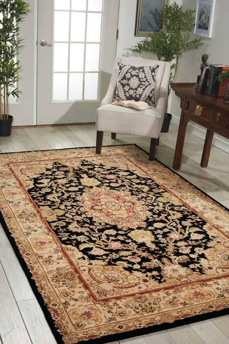 Nourison 2000 Black Rectangle 2x4 Ft Wool Carpet 101286