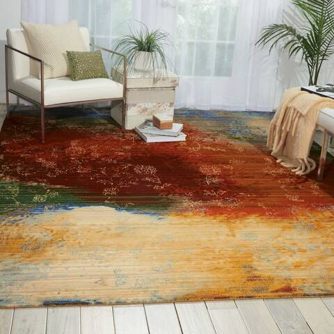 Nourison Rhapsody Multicolor Rectangle 5x7 Ft Wool Carpet