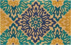 "Waverly WAV17 GREETINGS Blue Square 1'6"" X 2'4"" Area Rug 99446324313 805-105636"
