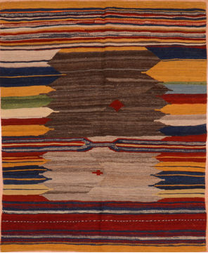 "Kilim Red Square Hand Knotted 3'7"" X 4'3""  Area Rug 130-105837"