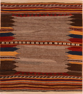 Kilim Red Square Flat Woven 3 5 X 6 Area Rug