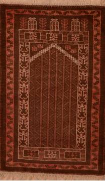 "Baluch Brown Hand Knotted 3'0"" X 4'8""  Area Rug 100-105904"
