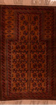 Afghan Baluch Brown Rectangle 3x5 ft Wool Carpet 105923