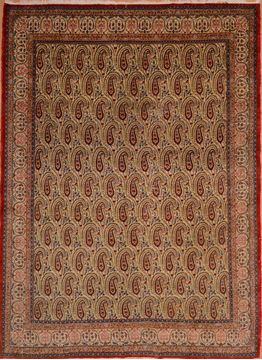 "Yazd Green Hand Knotted 8'2"" X 11'4""  Area Rug 134-108985"