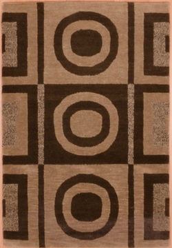 "Modern Beige Hand Knotted 2'0"" X 3'0""  Area Rug 100-109004"