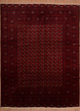 "Khan Mohammadi Red Hand Knotted 9'8"" X 12'8""  Area Rug 100-109007"