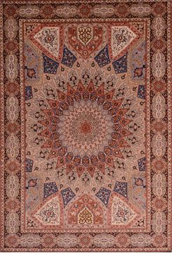 Persian Tabriz Beige Rectangle 7x10 ft wool and silk Carpet 109044