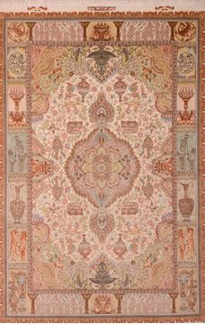 Persian Tabriz Beige Rectangle 7x10 ft wool and silk Carpet 109050