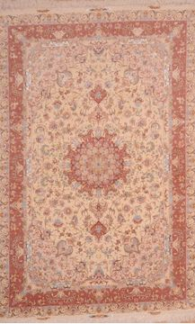 Persian Tabriz Beige Rectangle 7x10 ft wool and silk Carpet 109051