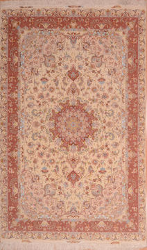 Persian Tabriz Beige Rectangle 7x10 ft wool and silk Carpet 109052