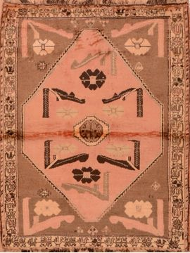 "Gabbeh Brown Hand Knotted 3'0"" X 5'0""  Area Rug 100-109063"
