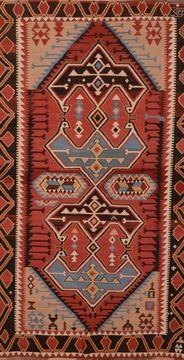 Afghan Kilim Red Rectangle 7x10 ft Wool Carpet 109071