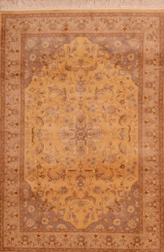 Pakistani Pak-Persian Beige Rectangle 4x6 ft Wool Carpet 109073