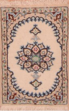 "Nain Beige Hand Knotted 1'3"" X 1'11""  Area Rug 100-109114"