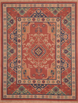 "Kilim Red Hand Woven 7'9"" X 9'9""  Area Rug 100-109132"