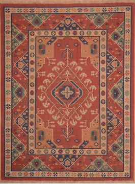 "Kilim Red Hand Woven 8'9"" X 11'7""  Area Rug 100-109137"