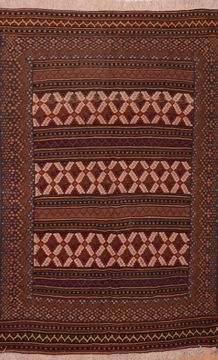 "Kilim Brown Hand Knotted 4'10"" X 7'9""  Area Rug 100-109140"