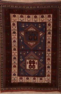 "Kilim Brown Hand Knotted 6'4"" X 9'1""  Area Rug 100-109142"