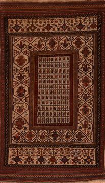 Afghan Shahre babak Brown Rectangle 6x9 ft Wool Carpet 109158